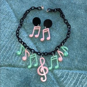 Pink black music note retro earring necklace set